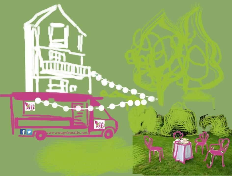 dessin privatisation du camion rouge basilic pour réception