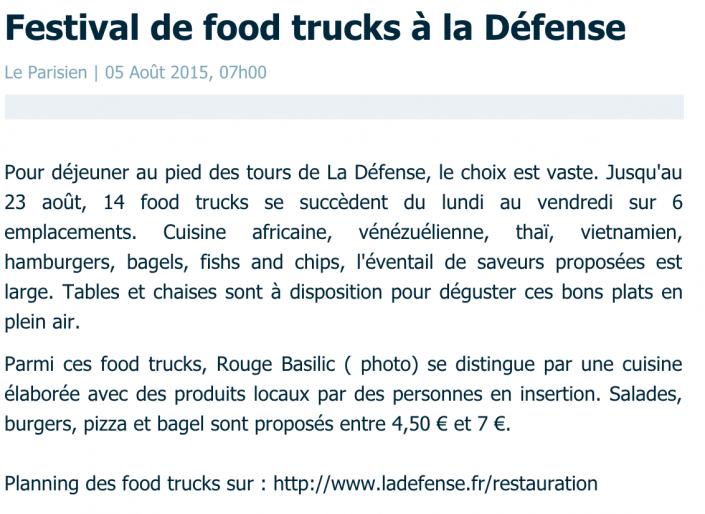 Article Le Parisien août 2015 - Festival de Foodruck à la Défense
